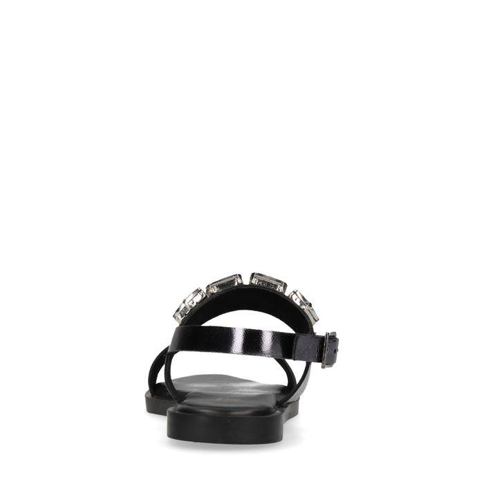 Zwarte metallic sandalen met diamanten