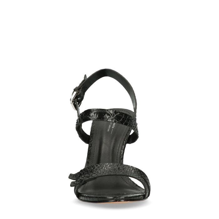 Zwarte snakeskin pumps