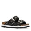 Zwarte plateau slippers met studs