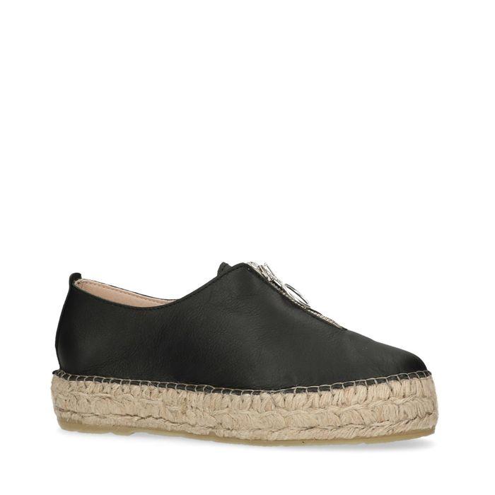 Zwarte platform sneakers met rieten zool en rits
