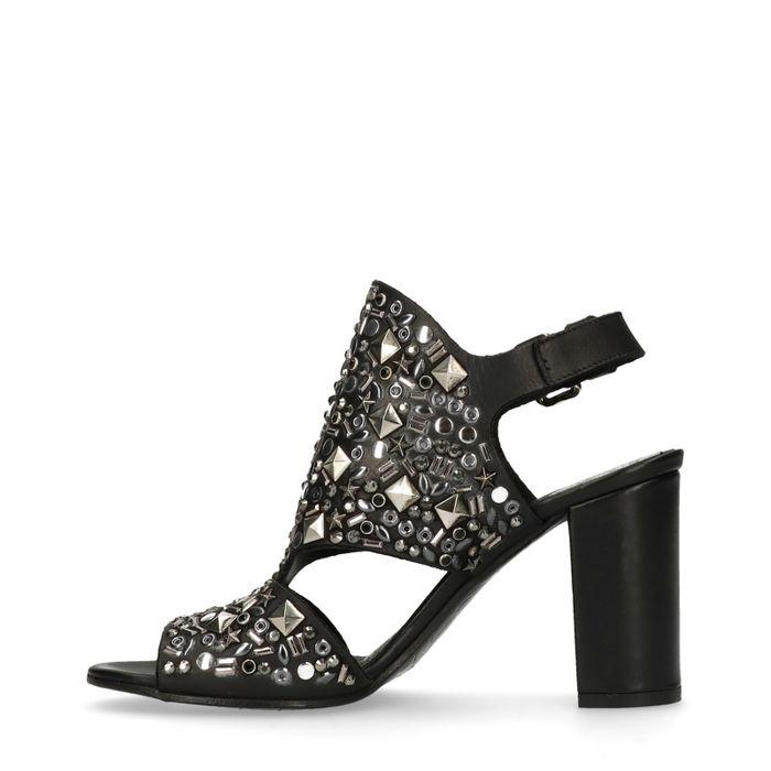 Zwarte sandalen met hak met studs