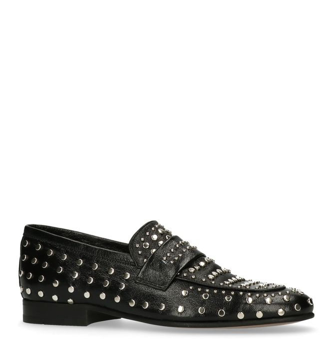 Zwarte loafers met zilverkleurige studs