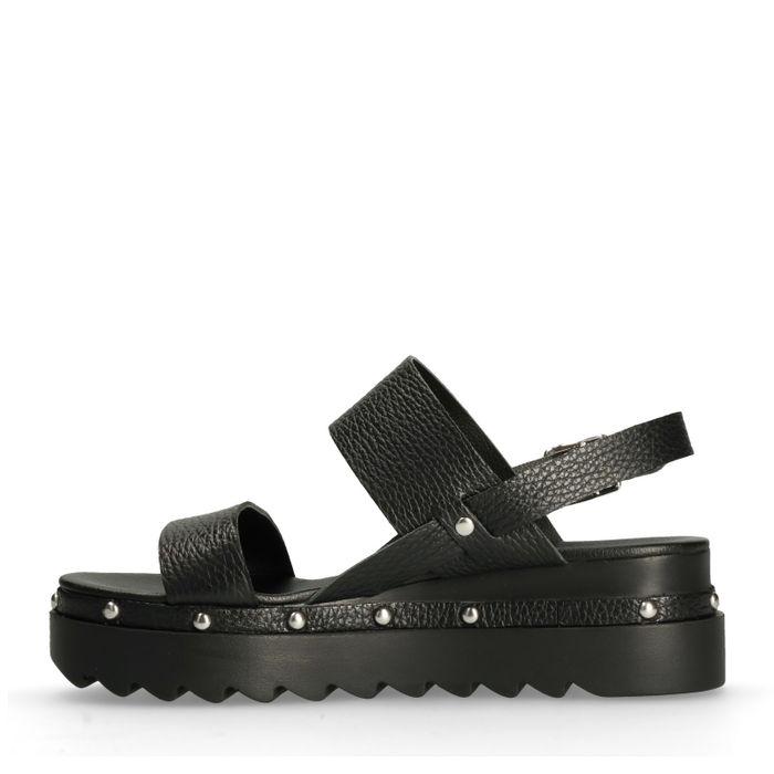 Zwarte plateau sandalen met studs