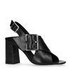 Zwarte leren sandalen met hak met gesp