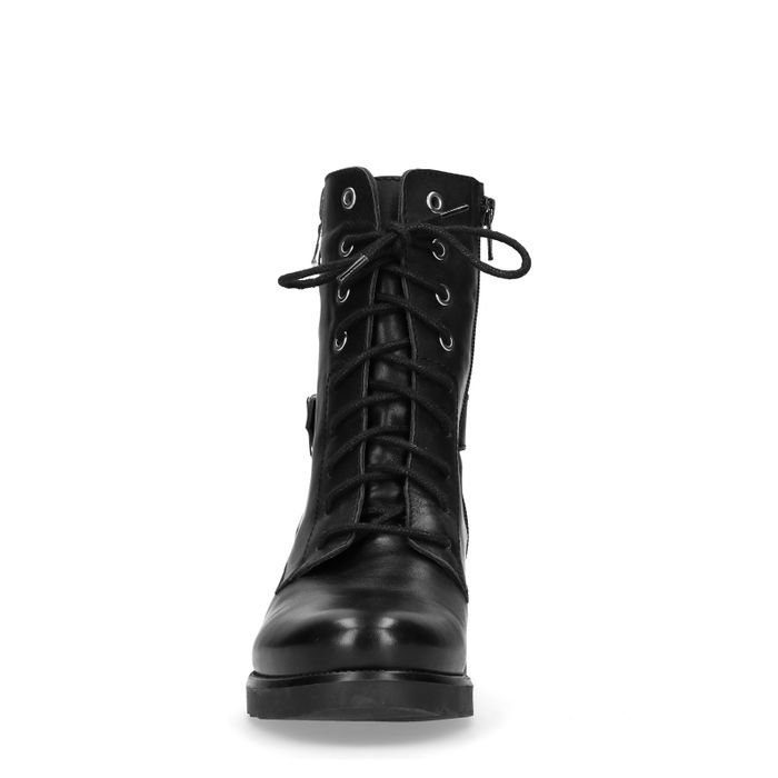 Zwarte biker boots met gesp