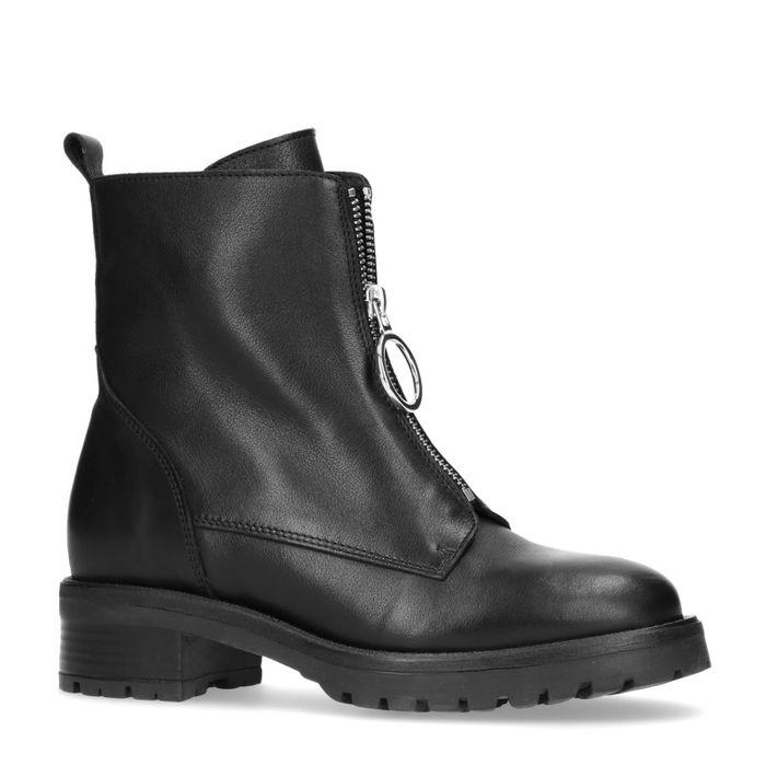 Zwarte biker boots met rits
