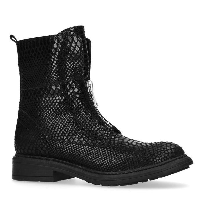 Zwarte snakeskin biker boots met rits