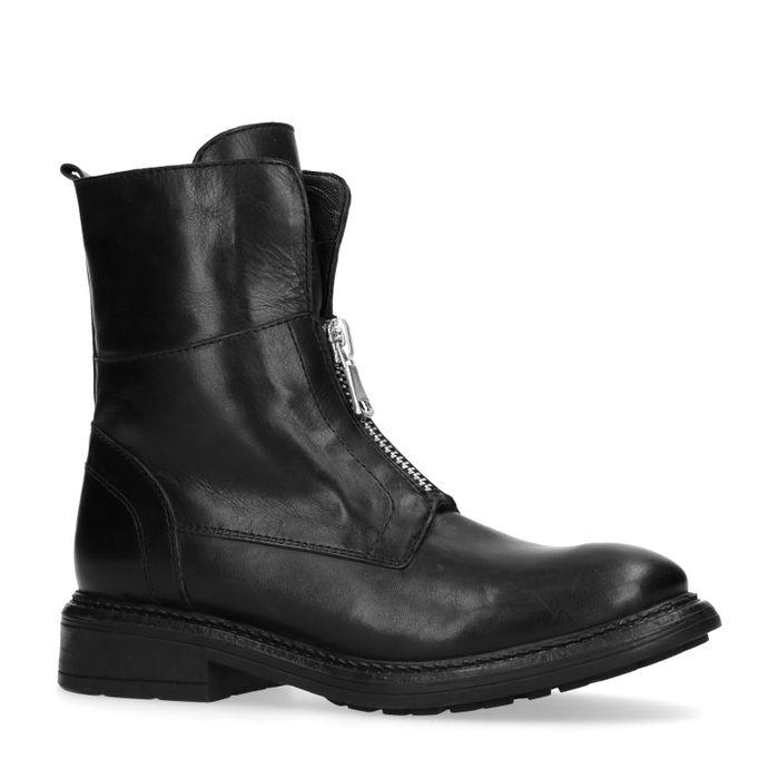Zwarte biker boots met ritsdetail