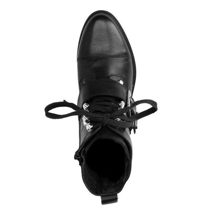 Zwarte biker boots met veters en gesp