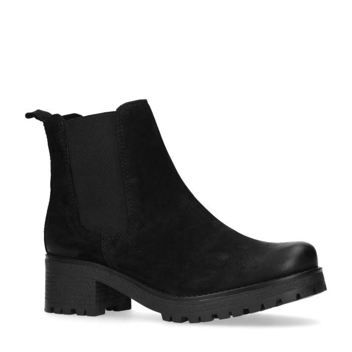 Zwarte chelsea boots met blokhak