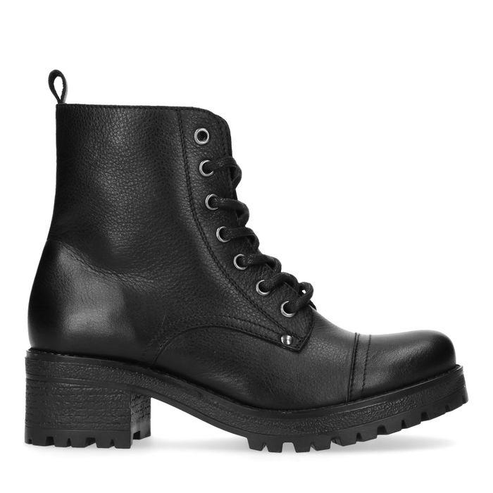 Zwarte leren biker boots met blokhak