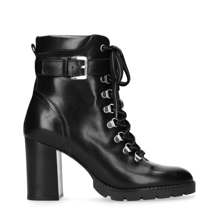 Zwarte hiker boots met hak