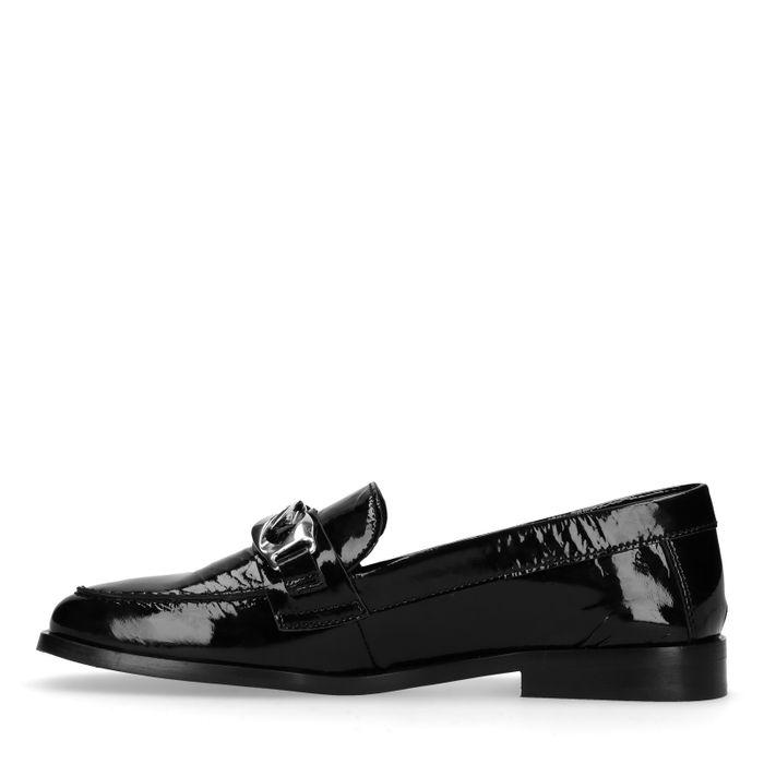 Zwarte lak loafers met chain