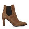 Bruine leren chelsea boots met hak