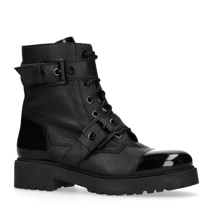 Zwarte biker boots met lak neus