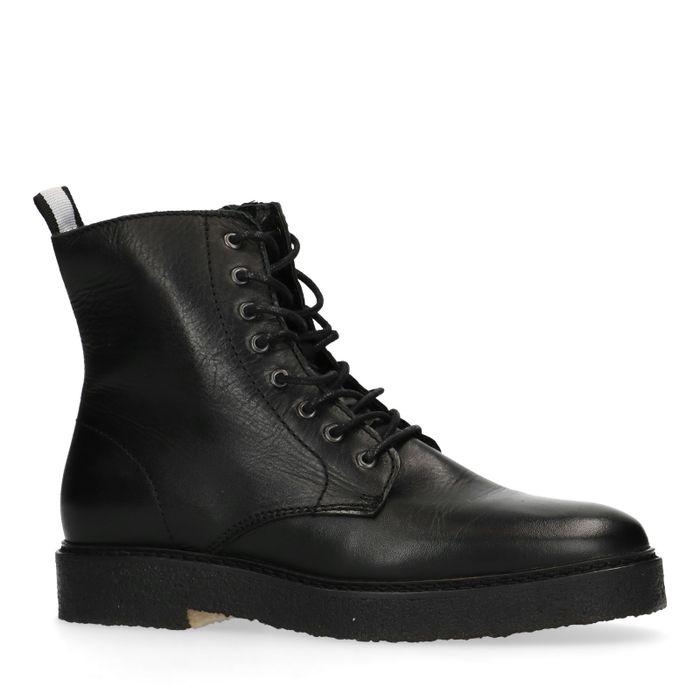 Zwarte biker boots met veters