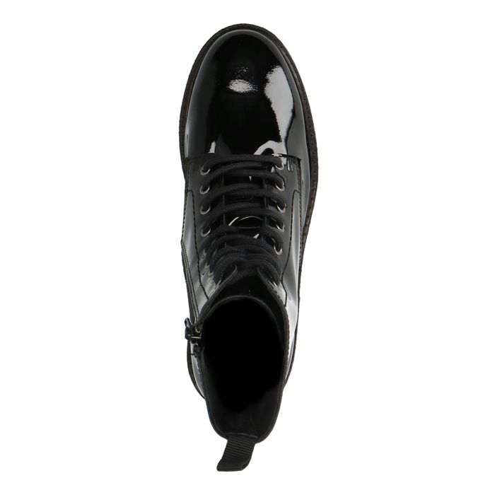 Zwarte lakleren biker boots