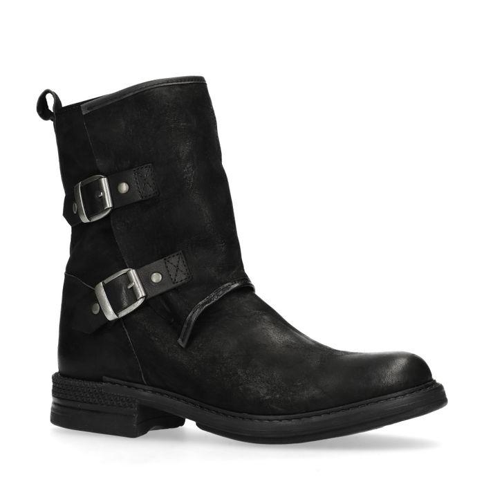 Fonkelnieuw Zwarte korte laarzen met gespen - Damesschoenen – SACHA OL-32