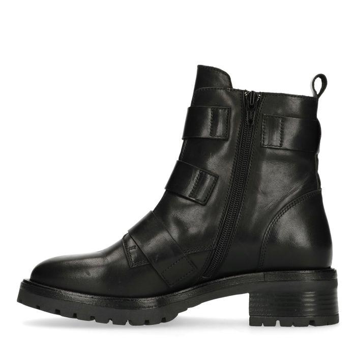 Zwarte biker boots met 3 gespen