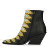 Zwarte snakeskin enkellaarsjes met hak met gele details
