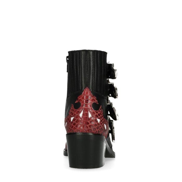 Zwarte buckle boots met rode details