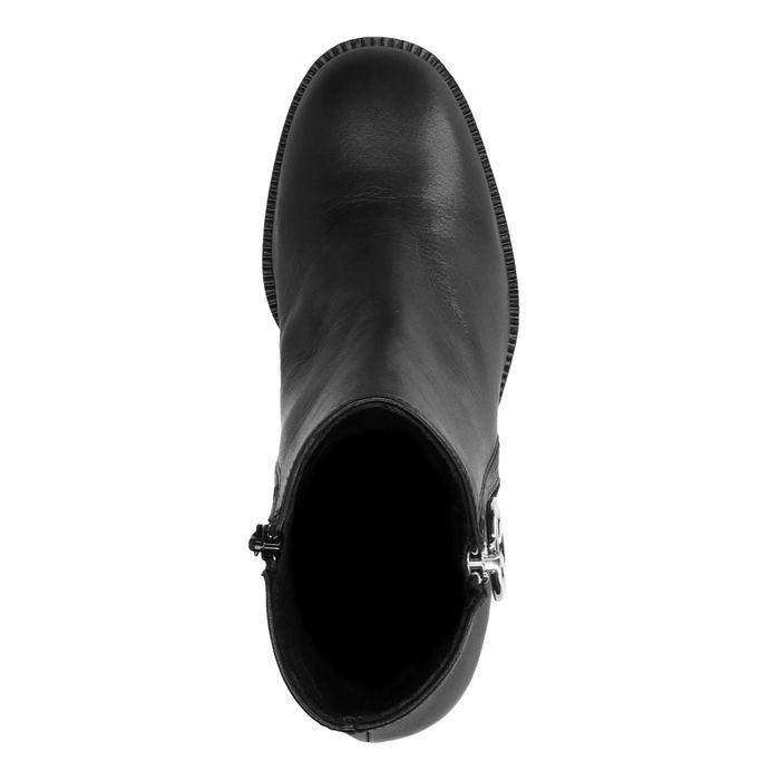 Zwarte enkellaarsjes met hak met sierrits