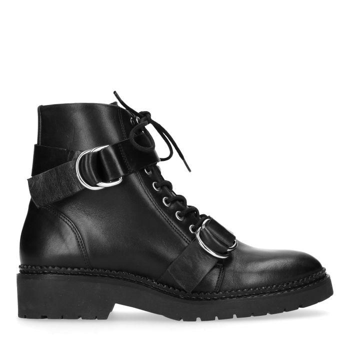 Lage biker boots met gespen
