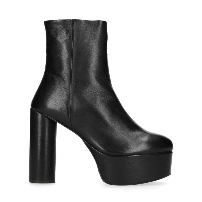 Zwarte korte laarzen met plateau hak