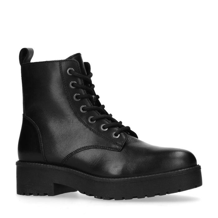 Zwarte leren platform biker boots