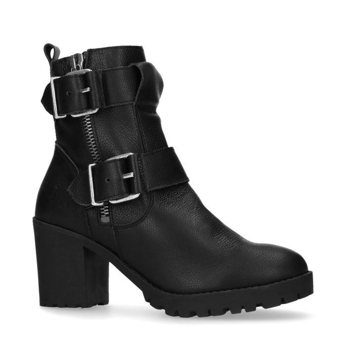 Zwarte biker boots met hak