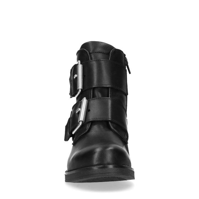 Zwarte leren biker boots met gespen