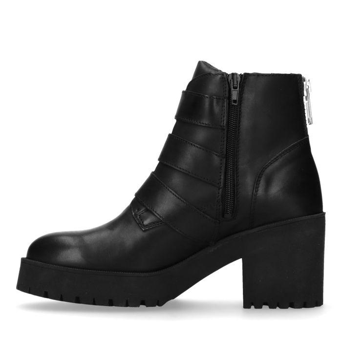 Zwarte biker boots met gespen en hak