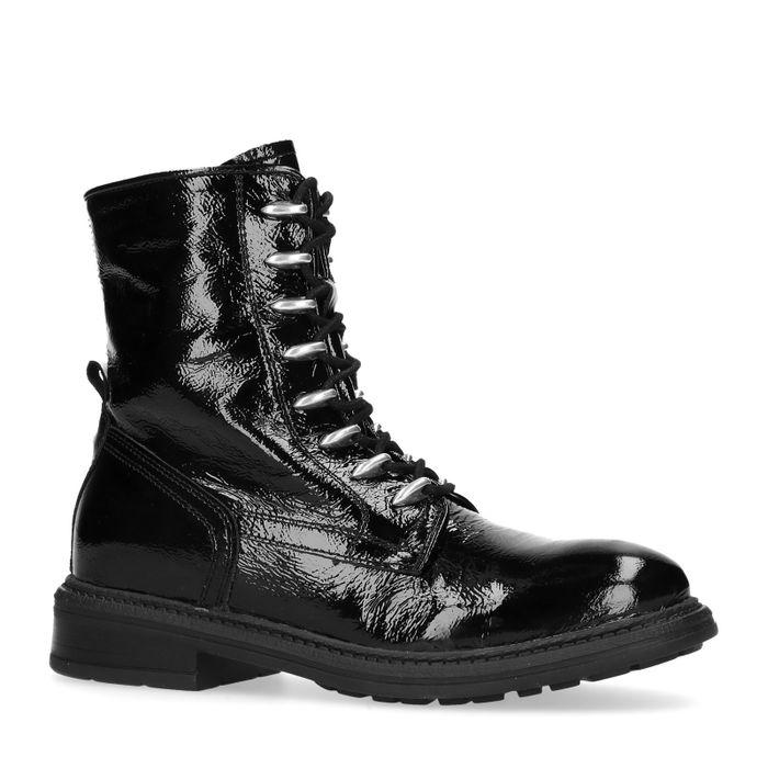 Lakleren biker boots