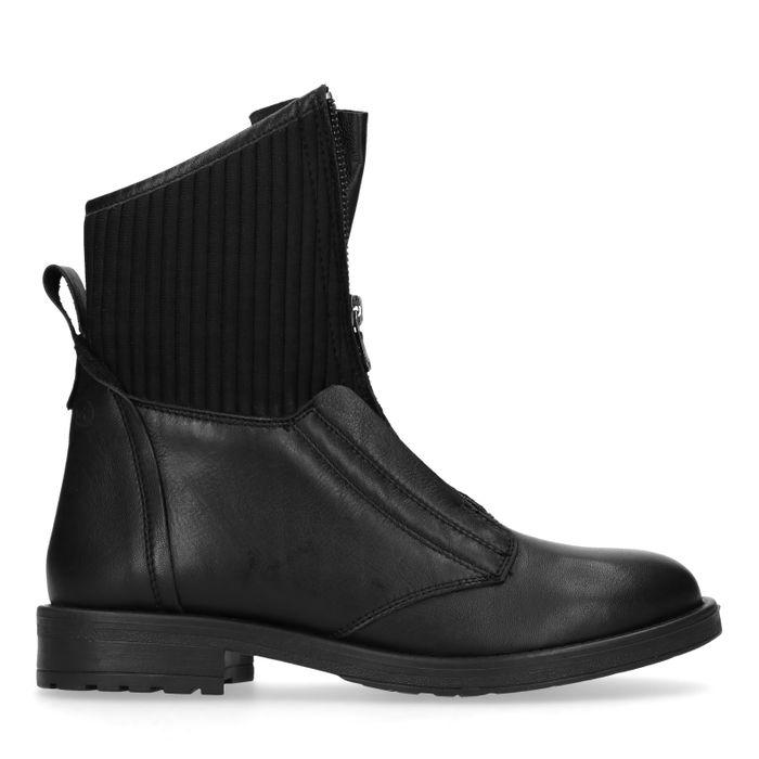 Zwarte leren korte laarzen met rits