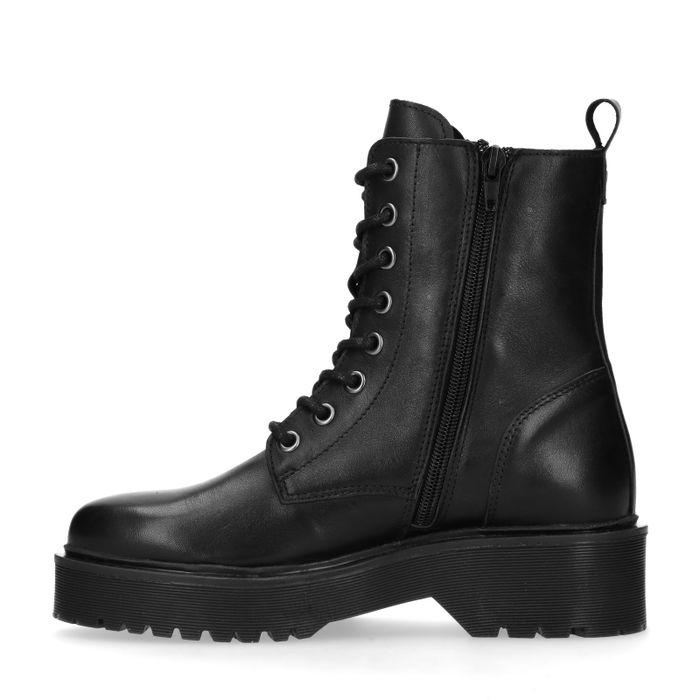 Zwarte leren biker boots met plateau zool