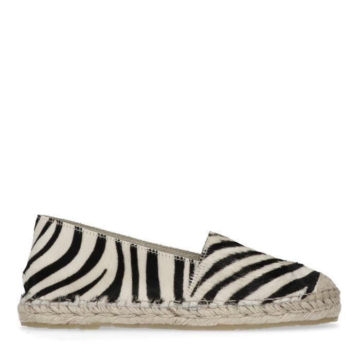 Zwarte espadrilles met zebra print