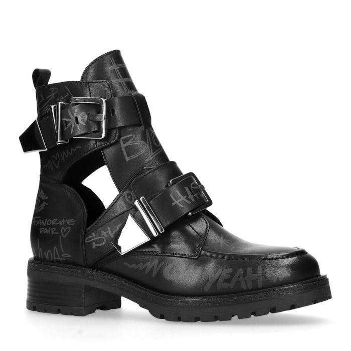 Zwarte cut out boots met tekst