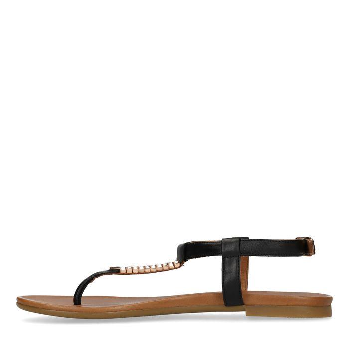 Zwarte sandalen met gouden details