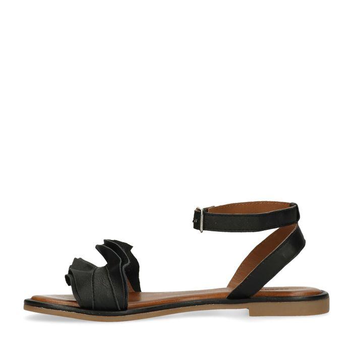 Zwarte sandalen met ruffles