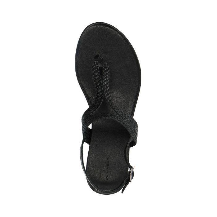 Zwarte sandalen met gevlochten detail