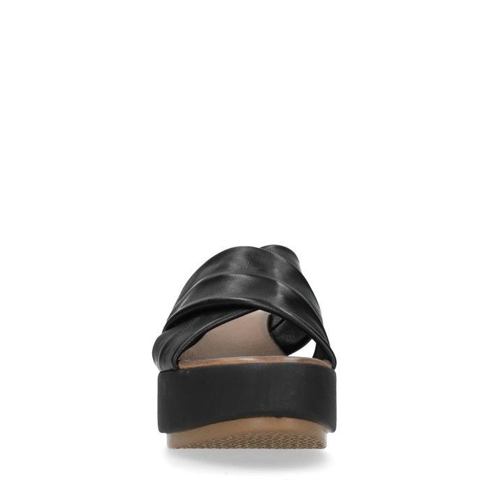 Platform slippers zwart