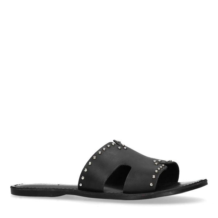 Zwarte slippers met studs