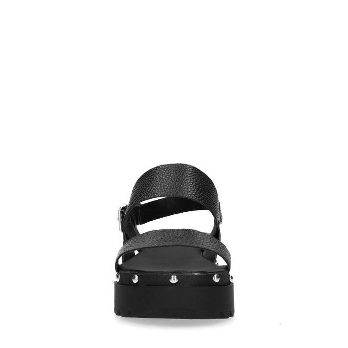 Zwarte plateau sandalen van leer
