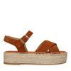 Cognac sandalen met plateau zool