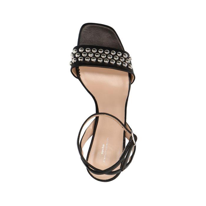 Zwarte leren sandalen met hak met studs