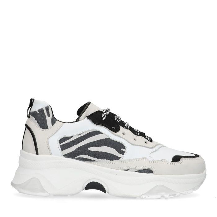 Witte dad sneakers met zebraprint