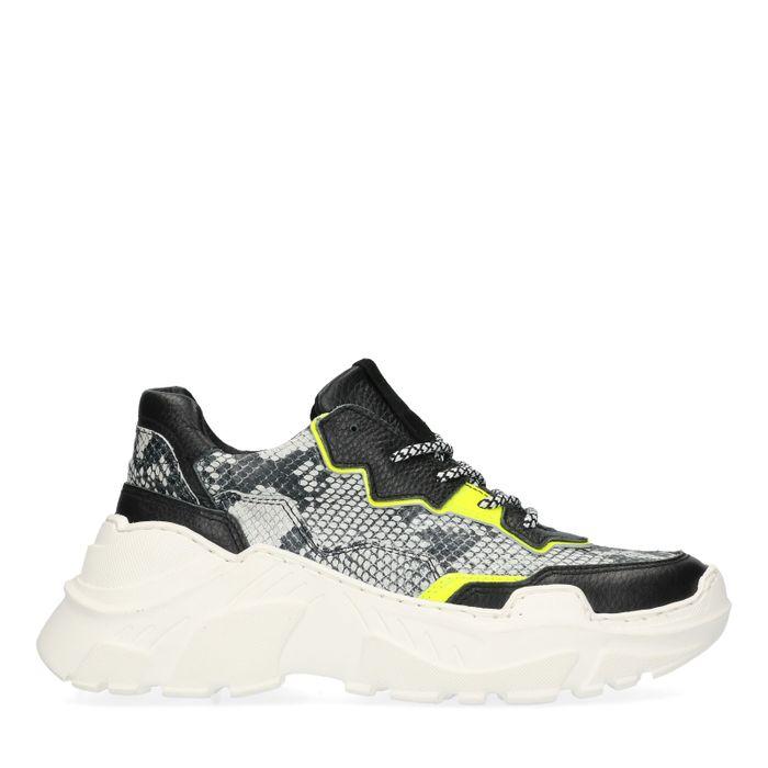 Zwarte dad sneakers met snake skin en neon