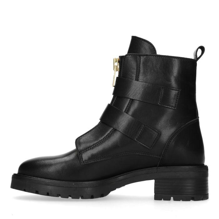 Zwarte biker boots met gouden gespen