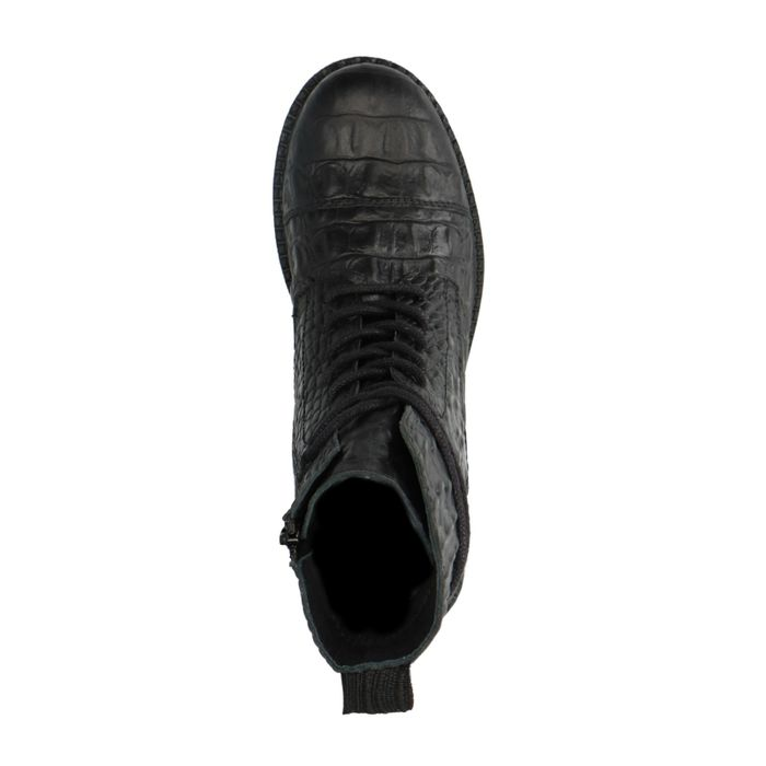 Zwarte enkellaarsjes met croco print