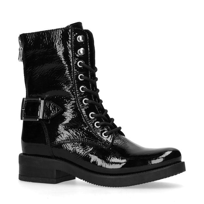 Lak zwarte biker boots
